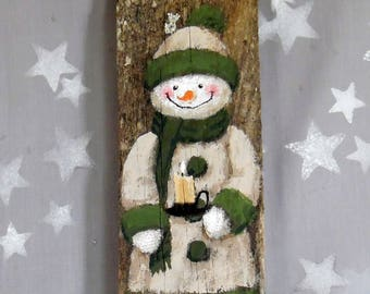 """A Candle for Winter, snowman, hand painted barnwood, 3 3/4"""" x 10"""""""