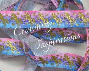 7/8 Unicorn (Gold) on Light Blue Pink Ombré  Lightly Glittered US Designer Ribbon