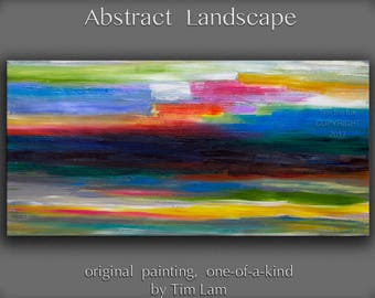 """Sale Original Beach Art abstract painting huge Impasto brushwork oil painting on gallery wrap linen canvas Home Decor by Tim Lam 48"""" x 24"""""""