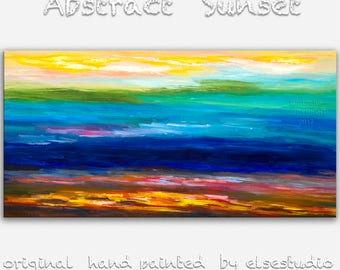 "Surreal wall art Abstract landscape painting oil painting 48"" canvas art wall hanging modern unique modern art Passion of Sunset by tim lam"