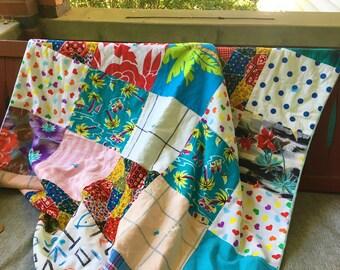 Retro Blanket Quilt Picnic Beach Boho Kitschy Mid-century