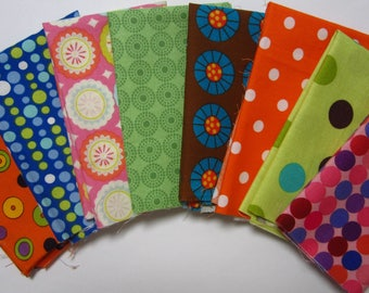 8 Assorted Fun Dots Circles Designer Cotton Fabric Scraps Quilting Sewing