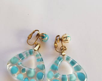Inside Out Blue Crater Earrings