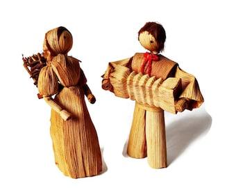 Antique Corn Husk Doll Pair/ Wedding Dolls/ Bride and Groom Corn Husk/ Cake Topper Dolls/ Accordion Player.
