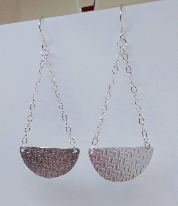 Textured Basket Sterling Silver Earrings