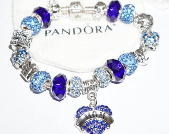"Authentic Pandora Bracelet - Beautiful In Blue ""Mom"" Theme"