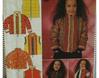 Childs Zip Front Jacket Pattern, Vest, Mandarin Collar, Multi Fabric, Reversible, Style No. 1044 UNCUT Size 3 4 5 6 7 8
