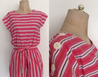 30% OFF 1980's Pink & Red Cotton Romper with Button Shoulders Size Small Medium by Maeberry Vintage