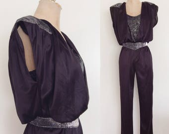 1980's Silver & Black Slinky Polyester Jumpsuit Size XS Small by Maeberry Vintage