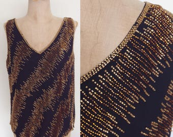 1980's Gold Beaded Black Evening Vintage Top Size Medium by Maeberry Vintage