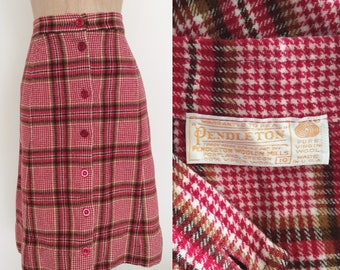 """1970's Pendleton Wool Raspberry & Pea Green Plaid Button Up Skirt Size XS 24"""" Waist by Maeberry Vintage"""