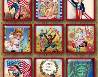 1 inch Digital Printable Squares PATRIOTIC collage sheet for Jewelry Pendants & Crafts...Vintage 4th of July, Flag Day etc