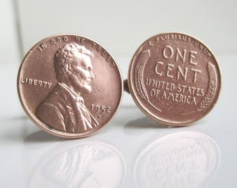 Cuff Links - USA Wheat Penny Front & Back Repurposed Coins
