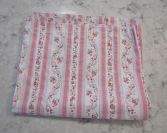 Vintage Pink & White French Wallpaper Print Cotton Fabric