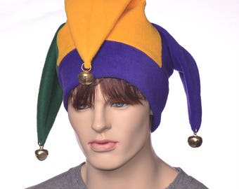 Jester hat in Traditional Mardi Gras Colors Green Purple Gold Harlequin Hat with Large Gold Bells