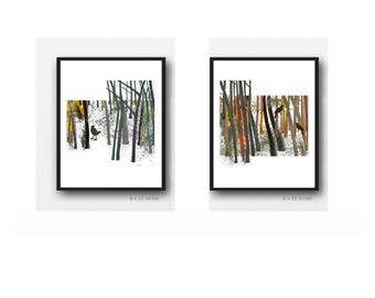 Bird watercolor Set of 2 Watercolor prints, Father's Day gift for men, Husband Gift