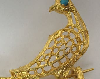 Vintage Peacock Brooch Turquoise Color Cabochons Gold Tone
