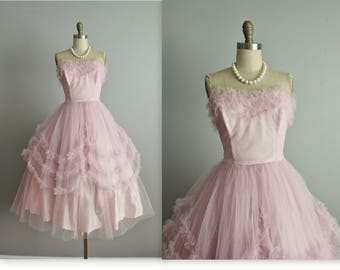 50's Prom Dress // Vintage 1950's Strapless Pale Pink Tulle Lace Wedding Party Prom Dress Tea Gown S