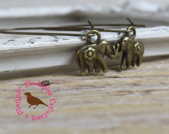Petite Bronze Elephant Earrings, Small Rustic Bronze Elephant Earrings, Tiny Elephant Earrings, Safari, Leverback, by MagpieMadness