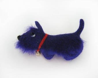 "A felt brooch ""Blue dog"""