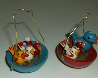 Vintage Tiny Wooden Birds In Nest Swedish Christmas Ornaments