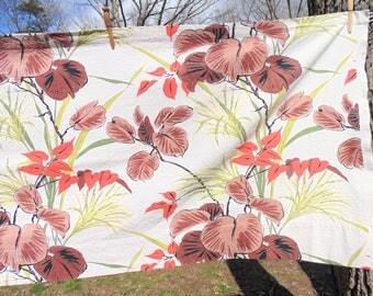 Bark Cloth. Fabric. Barkcloth. Drapery. Curtain. Valance. Drapery. Panel. 27 x 98 Tropical Print. fabric. RV Decor. OurVintageHouse. Florida