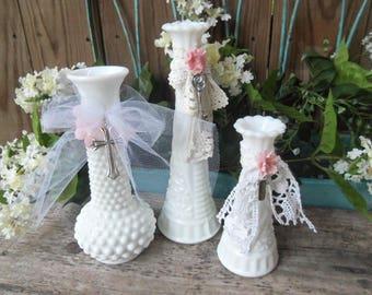 Set of 3 Milk Glass Vases, Wedding Decor, White Glass, Romantic, Cottage Decor