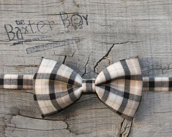 Tan & Black plaid bow tie for little boys - pre-tied, photo prop, wedding, ring bearer, accessory