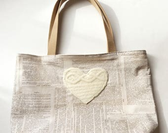 Text with Heart Cotton Tote Bag