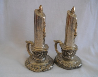 Metal Candlestick Salt and Pepper Shakers - vintage, collectible, metal