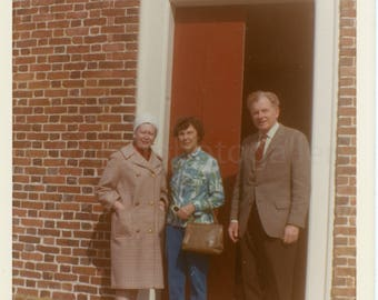 Vintage Photo, Man with Woman at the Old Trinity Church in Cambridge Maryland, Snapshot, Old Photo, Color Photo, Travel Photo, Landscape