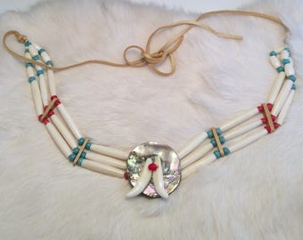 Coyote Teeth on Mother of Pearl Necklace