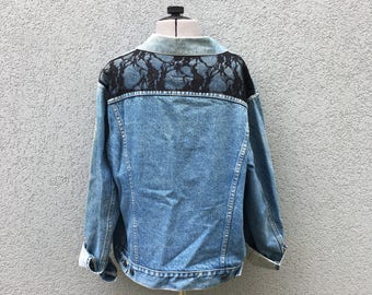 Vintage Levi Strauss Denim Jacket with Black Lace Panel / Jean Jacket / Outerwear / Large
