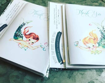 Mermaid Thank you Note Cards - pack of 6