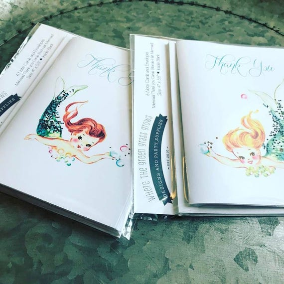Mermaid Thank you Note Cards - pack of 6 Retro cards Thank you cards Mermaid Birthday Mermaid Party