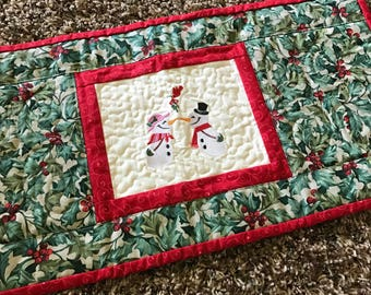 Snowman Christmas quilt Table runner