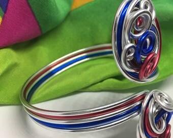 Labor day jewelry, Independence Day, cuff bracelet, wire wrapped bracelet, cuff bracelet, end of summer jewelry, patriotic jewelry,