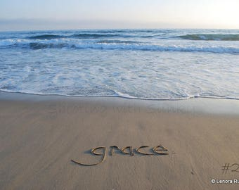 GRACE - PRINT fine art photograph writing in the sand with starfish, crystal archive lustre paper, sand writing beach, sand words