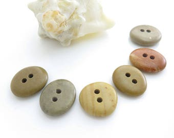 Double Drilled Natural Beach Stone Buttons 6 pcs, OOAK Buttons, Sewing Supplies, Jewelry making Organic Beads