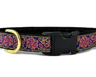 "Ready-to-Ship: Sevilla Jacquard in Purple, Pink & Gold - 1"" Buckle Collar - SMALL - Brass Hardware"