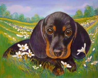 Black & Tan Dachshund art painting daisies pet portrait  ORIGINAL Dog  Painting dachshund pets dogs