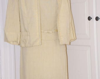 "ON SALE 60s Dress, Yellow, David Crystal, Linen, 3-Piece, Pencil Skirt, Swing Jacket, Size Small, 24"" Waist"