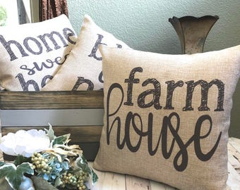 Farmhouse Pillow - Burlap Pillow - Rustic Country Decor - Farmhouse Decoration - Fixer Upper - French Farmhouse Decor - Gift Under 25