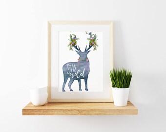 Stay Wild Nursery Art, 8x10 Printable, Floral Deer Print, Boho Wall Art, Watercolor