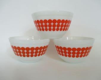 Vintage Pyrex Orange Dot Mixing Bowl - Kitchenware - Kitchen Decor - Orange Polka Dots - #401 - 1-1/2 Pint - Studio Decor - Craft Room Decor