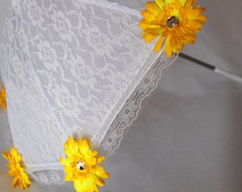Sun Parasol - Lace Umbrella - Girls White Sun Umbrella with Yellow Flowers - Flower Girl Parasol - Tea Party Sun Shade - Style 101
