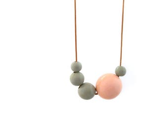 Wooden necklace, wooden bead necklace, pastel necklace, wood necklace, pink and gray, eco friendly jewelry, minimal jewelry