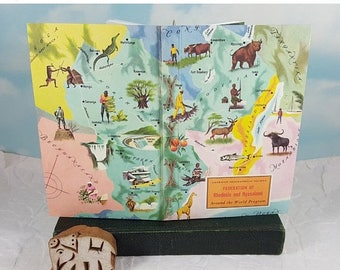 Travel Sale Federation of Rhodesia and Nyasaland Map Travel Journal from Vintage American Geographical Society Colorful Classroom Map