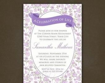 ON SALE Printable Celebration of Life Invitation, Floral, Lavender, Shabby Chic, Roses, Purple