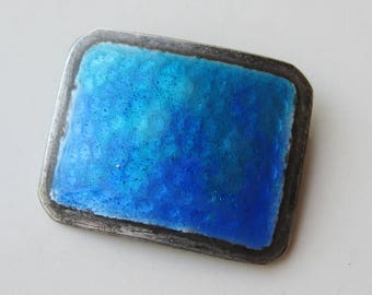 Vintage Sterling Silver Enamel Mid Century Modernist Brooch Pin